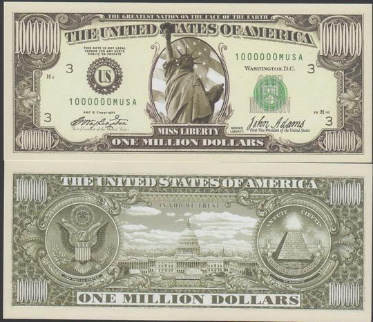 tờ tiền 1 triệu usd